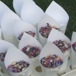 Confetti tray with ivory ribbon, cones decorated with optional ivory bows and containing mixed delphinium petals