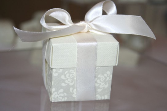 Vintage pearl grey favour box 50x50x50mm with 16mm ivory silk ribbon